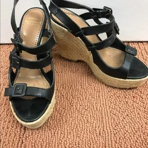 Moschino black leather wedge sandals size 37